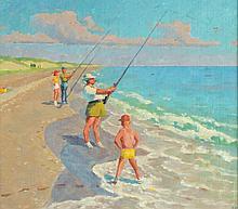 GARNET W. JEX (American, 1895-1979). SURF FISHING, signed lower right. Oil on board.