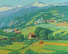 GARNET W. JEX (American, 1895-1979). SWISS HILLSIDE VILLAGE, signed lower right and titled on label verso. Oil on canvas.