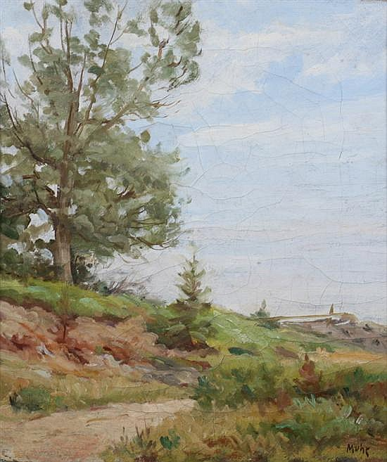 PHILIP MUHR (American, 1860-1916). SUMMER LANDSCAPE, signed lower right, also signed and dated 1907 on reverse. Oil on canvas.