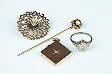 FOUR PIECES VICTORIAN GOLD AND OLD MINE CUT DIAMOND JEWELRY.