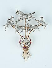 LADY'S VINTAGE PLATINUM, YELLOW GOLD, DIAMOND AND RUBY HORSE MOTIF BROOCH,