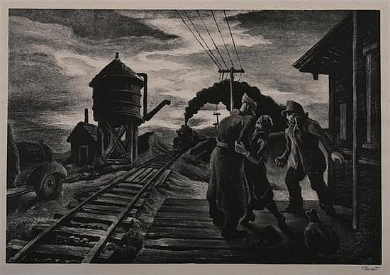THOMAS HART BENTON (American, 1889-1975). MORNING TRAIN (SOLDIER'S FAREWELL), signed in pencil lower margin. Lithograph.