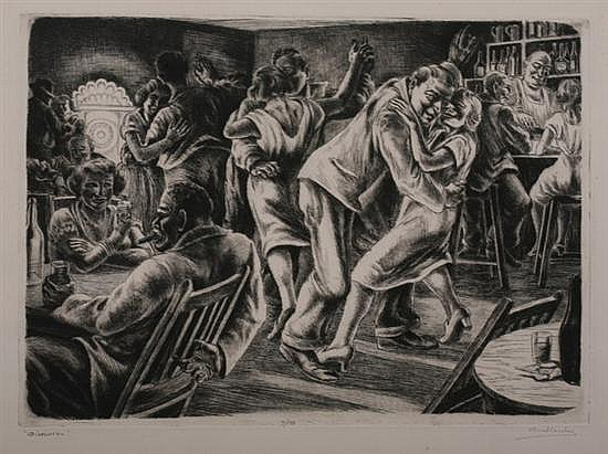 ISAC FRIEDLANDER (Latvian/American, 1890-1968). DIVERSION, signed, titled and numbered 7/10 in pencil lower margin. Etching.