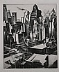 HOWARD COOK (American, 1901-1980). TIMES SQUARE SECTOR, signed in pencil lower margin. Etching., Howard Norton Cook, Click for value