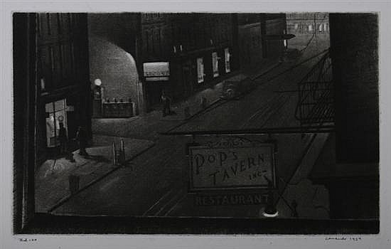 ARMIN LANDECK (American, 1905-1984). POP'S TAVERN, signed, dated 1934 and noted
