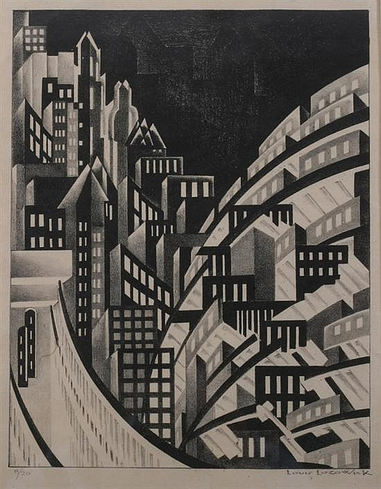 LOUIS LOZOWICK (Russian/American, 1892-1973). NEW YORK, signed and numbered 8/20 in pencil lower margin. Lithograph.