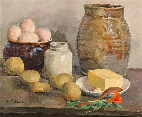 EUGENE LOUIS CORNEAU (French, 1894-1976). STILL LIFE WITH FRUIT AND EGGS, signed lower left. Oil on canvas.