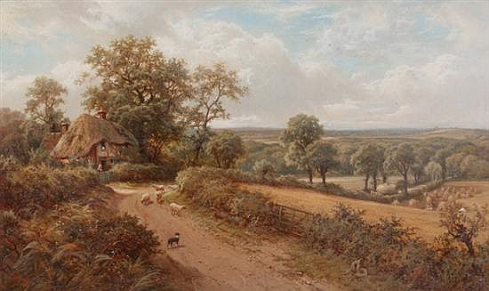 HENRY MAIDMENT (British, 19th century). ENGLISH COUNTRY LANDSCAPE, monogrammed and dated '95 lower left. Oil on canvas.