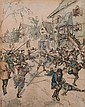ATTRIBUTED TO APOLLINARI MIKHAILOVICH VASNETSOV (Russian, 1856-1933). THE INSURRECTION, signed lower left. Watercolor.
