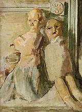 CHARLES LLOYD HEINZ. (American, 1884-1953). TWO DOLLS, signed lower left. Oil on board.