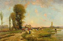 NICHOLAS BRIGANTI (American/ Italian, 1861-1944). LOADING THE HAY WAGON, signed lower right. Oil on canvas.