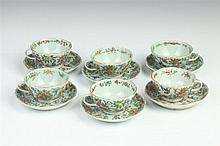SIX CHINESE FAMILLE ROSE PORCELAIN TEA CUPS AND SAUCERS, Qianlong four character underglazed blue mark, 19th Century. - Saucer: 5 1/8 i