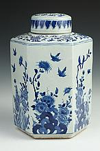 CHINESE BLUE AND WHITE PORCELAIN HEXAGONAL TEA CADDY. - 13 1/2 in. high.