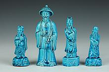 CHINESE TURQUOISE PORCELAIN FIGURE OF OFFICIAL, Late 19th/early 20th Century. - Larger: 6 1/4 in. high.