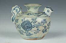 CHINESE BLUE AND WHITE PORCELAIN BIRD-FORM WATER DROPPER, Ming Dynasty. - 3 in. high.