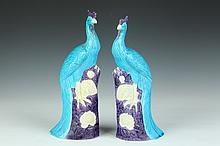 PAIR CHINESE TURQUOISE AND AUBERGINE PORCELAIN FIGURES OF PHOENIX BIRDS, 20th Century. - 12 in. high.