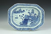 CHINESE BLUE AND WHITE PORCELAIN SOUP TUREEN STAND, 18th Century. - 14 5/8 in. long.