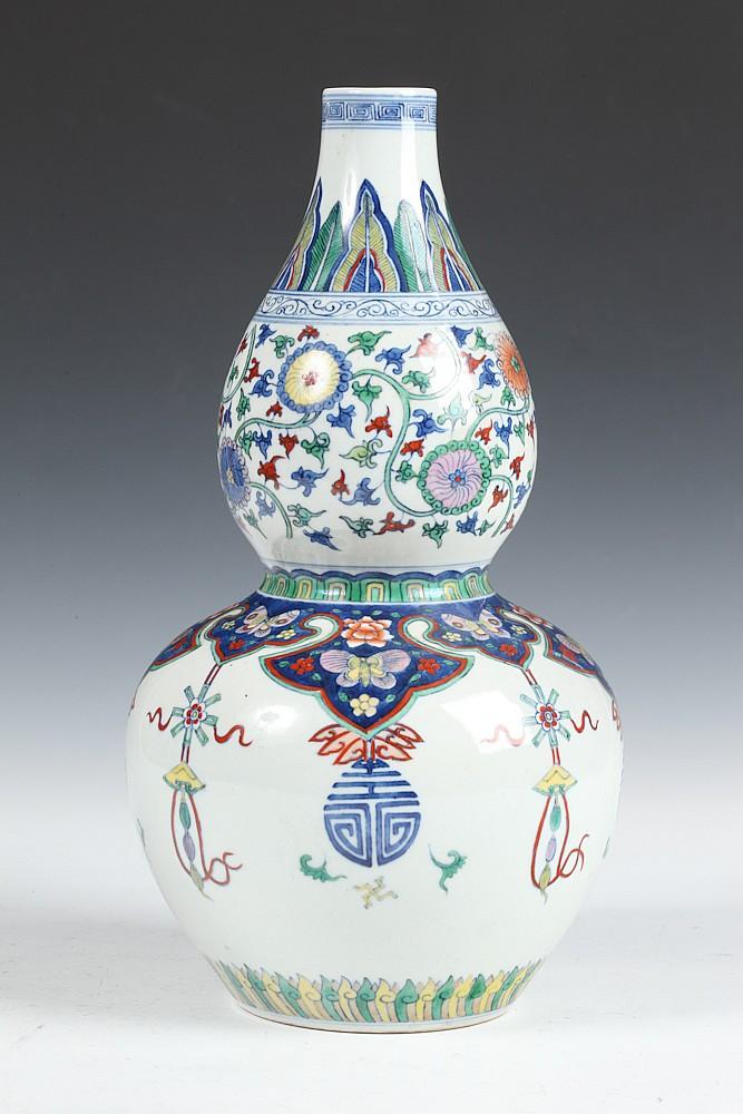 Chinese Doucai Porcelain Double Gourd Vase Yongzheng Mark