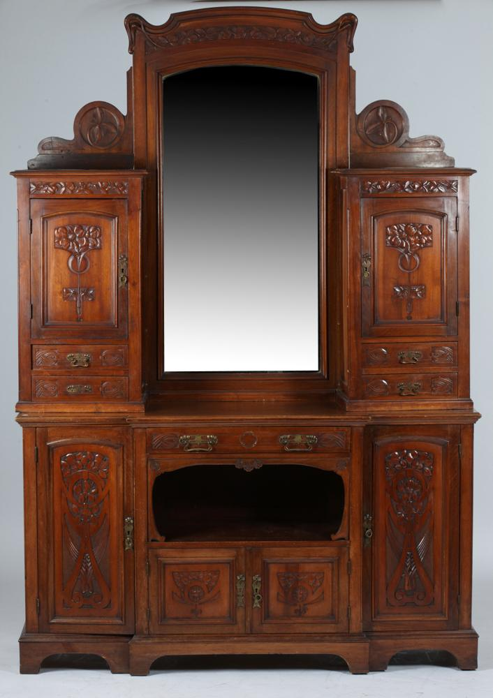 english art nouveau walnut buffet with mirror extensively. Black Bedroom Furniture Sets. Home Design Ideas