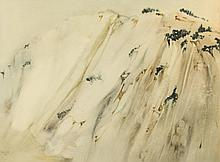 LEE WEISS (American b. 1928). ABSTRACT MARBLE, signed lower left, dated 1968. Watercolor on paper.