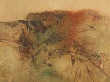 LEE WEISS. (American b. 1928). ABSTRACT TAN AND BROWN, signed lower left, dated 1965. Watercolor on paper.