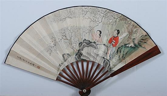AFTER WANG SHUHUI (Chinese, 1912-1985). TWO MEIREN UNDER PRUNUS TREE, ink and color on paper fan, signed and sealed, dated 1939.