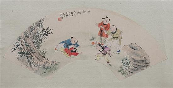 AFTER SHA FU (Chinese, 1831-1906). CHILDREN AT PLAY, two ink and color on paper fans, signed and sealed.