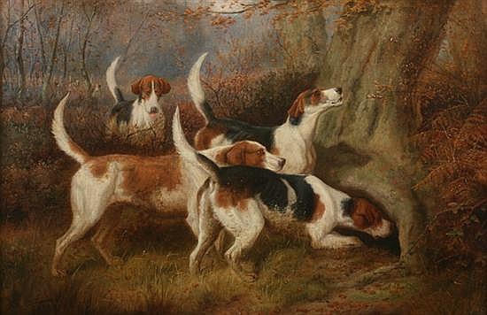 EDWARD ALGERNON STUART DOUGLAS (British, c. 1850 - c. 1920). GONE TO GROUND, signed lower left. Oil on canvas.