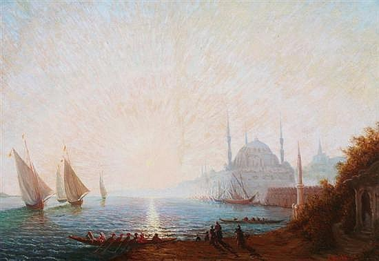 AMADEUS BARTH (Swiss, 1899-1926). SUNRISE OVER THE BOSPHORUS, signed lower right. Oil on canvas.