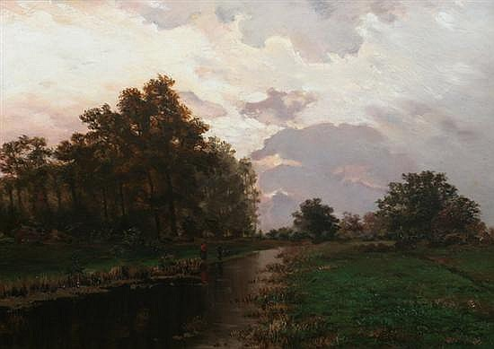 ATTRIBUTED TO GEORG OEDER (German, 1846-1931). TWILIGHT LANDSCAPE, bears signature of artist on verso. Oil on canvas.