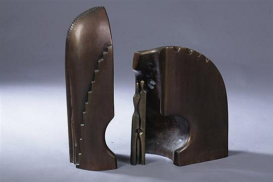 AHARON BEZALEL (Israeli, b. 1926). THE COUPLE, signed, dated 88 and numbered 7/15. Bronze.