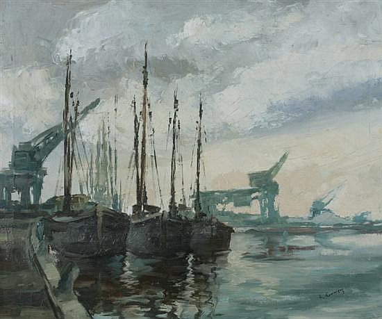 EMILE LAMMERS (Belgian, 1914-1990). BOATS IN HARBOR, signed lower right. Oil on canvas.
