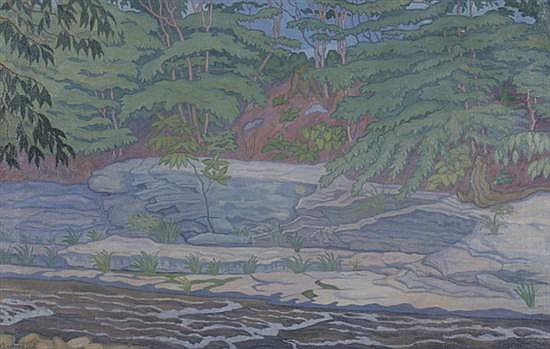 CHESTER LEICH (American, 1889-1978). LANDSCAPE WITH RUSHING RIVER, signed lower left. Oil on canvas.