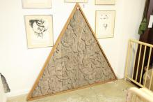 THAI CARVED WOOD TRIANGULAR GABLE, 18th century, early Ratanakosin. - 57 in. x 69 in.