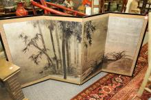 JAPANESE PAINTED SILVER LEAF FOUR-PANEL TABLE SCREEN DEPICTING LANDSCAPE SCENE OF BAMBOO FOREST, MOON, AND RUNNING WATER, 1860-1870. -