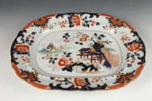 LATE 19TH CENTURY IRONSTONE PLATTER IN IMARI PATTERN, Late 19th Century. Marked Improved Ironstone Platter. - 18 3/4