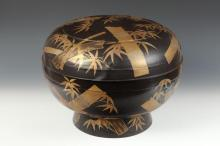 LARGE JAPANESE GILT AND BLACK LACQUERED BOX AND COVER, - D: 18 in.