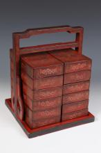 JAPANESE SQUARE LACQUER MULTI-TIER FOOD BOX. - 11 3/4 in. x 9 3/8 in. x 9 1/2 in.