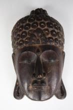 JAPANESE CARVED WOODEN BUDDHA HEAD, 19th to 20th Century. - 13 in. x 8 in.