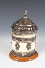 MID-EASTERN/INDIAN SILVER MOUNTED BONE POT, - apr.: 9 in. high.