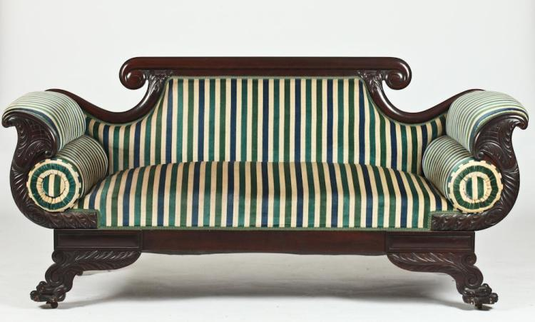 American Empire Style Carved Mahogany Striped Upholstered So