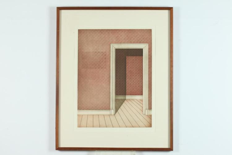 ELISABETH VON HOLLEBEN (German, b. 1943). EMPTY HOUSE, signed and numbered 54/75 in pencil lower margin. Color aquatint, circa 1975.