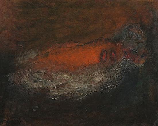 ELMAR ROJAS (Guatemala, b. 1938). FIGURA RECLINADA, signed lower left. Oil on masonite.
