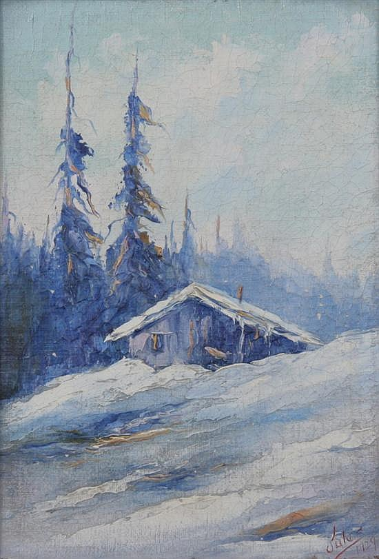 JULES B. DAHLAGER (American, 1884-1952). CORDOVA, ALASKA, signed and dated 1929 lower right. Oil on canvas board.