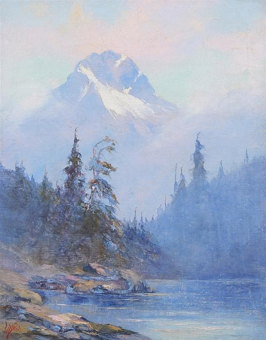 JULES B. DAHLAGER (American, 1884-1952). ALASKAN MOUNTAIN LANDSCAPE WITH PINK SKY, signed and dated 1927 lower left. Oil on canvas.