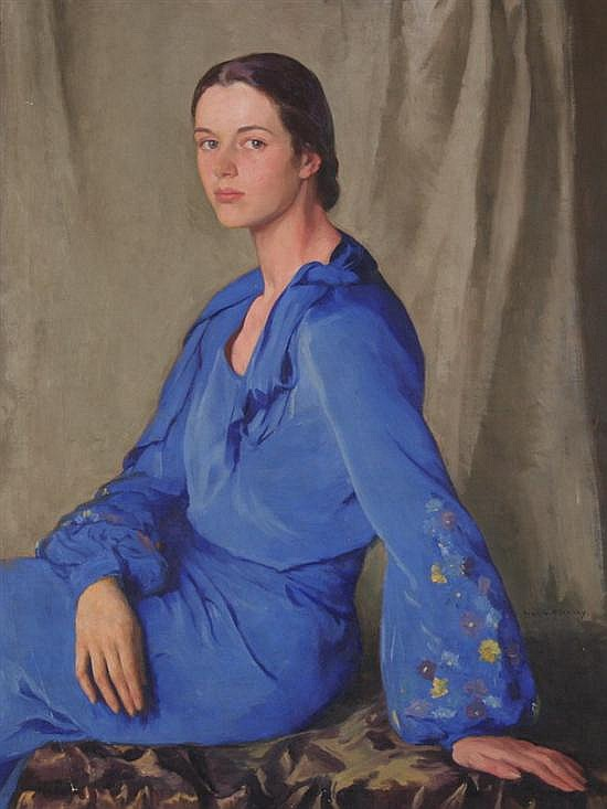 IVAN GREGOREVITCH OLINSKY (Russian/American, 1878-1962). TOSCA IN BLUE, signed lower right, also titled on stretcher. Oil on canvas.