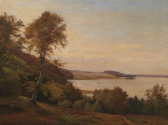 ANDERS CHRISTIAN ANDERSEN (Danish, 1859-1911). EXTENSIVE LANDSCAPE WITH BOATERS, signed and dated 1871 lower left. Oil on canvas.