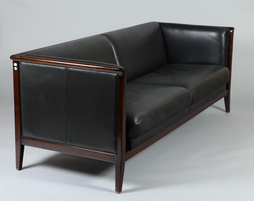 CONTEMPORARY BLACK LEATHER SOFA RETAILED BY MAURICE VILLENCY