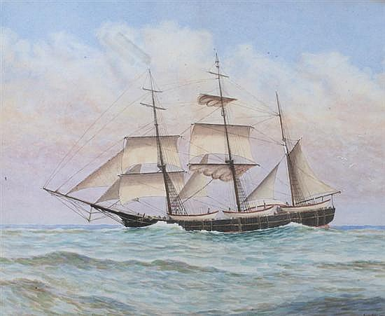 JAMES CREE (American, 1867-1951). THREE-MASTED SCHOONER AT SEA, signed and dated 1924 lower right. Watercolor.