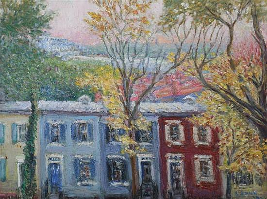 CAROLINE VAN HOOK BEAN (American, 1879-1980). ROW HOUSES, signed lower right. Oil on canvas.